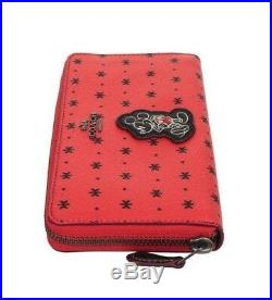 NWT COACH Disney Mickey Mouse Accordion Bandana Print Zip Wallet Red Black 59728