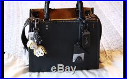 NWT COACH ROGUE 25 BLACK WITH Leather Tea Rose Key Chain