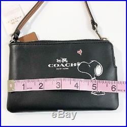 NWT COACH X PEANUTS Snoopy Zip Wristlet F65193 Plus Keychain F65165 Black Calf