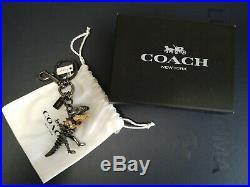 NWT Coach 1941 Black & Gold Glitter Rexy Bag Charm T-Rex Key Chain Fob TAG 55869