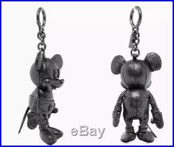 NWT Coach Disney F59152 Mickey Leather Doll Plush Bag Charm Keychain Black Rare