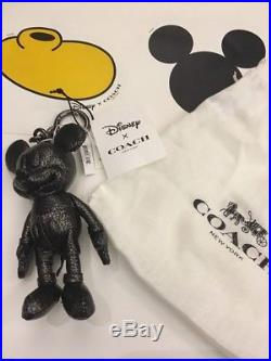 NWT Coach Disney Leather Mickey Mouse Purse Charm Key Fob Keychain 59152