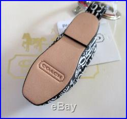 NWT Coach Leather Ballet Flat Shoe Slipper Key Fob Chain Keychain Charm 67399