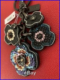 NWT Coach Leather Sequin Applique Tea Rose Multi Bag Charm Keychain Black 32672