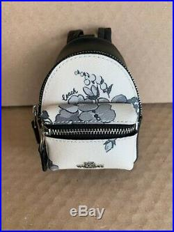 NWT Coach Mini Backpack Key Chain FOB Coin Case Purse Charm Cherry Blossom