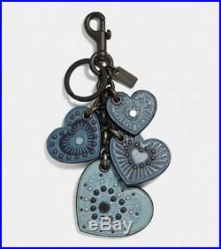 NWT Coach Stud Heart Mix Leather Bag Charm Keychain 30074 Chambray Blue / Black