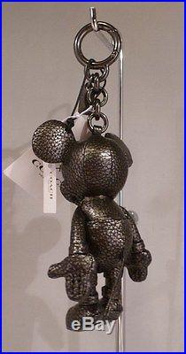NWT Coach X Disney Mickey Mouse Doll Bag Charm Gunmetal Leather 59152