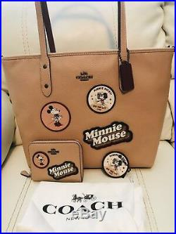 NWT Coach X Disney Minnie Mouse Beechwood Tote Bag Wallet & Key Chain 3 Pc Total