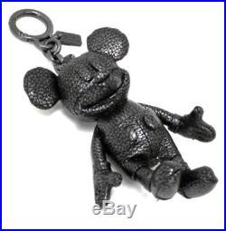 NWT Coach x Disney F59152 Mickey Leather Doll Bag Charm Keychain Black Key Black