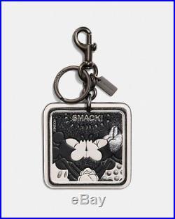 NWT Disney Coach Mickey & Minnie Smack Patch Bag Charm Key Chain black