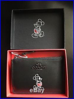 NWT Disney X Coach Mickey Mini black ID Card Wallet Case with gift box