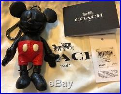 NWT Disney X Coach Mickey Mouse Black Leather Bag Charm Key Chain Fob 66511