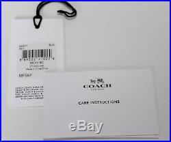 NWT Disney X Coach Mickey Mouse Black Leather Bag Charm Key Chain Fob 66511 M
