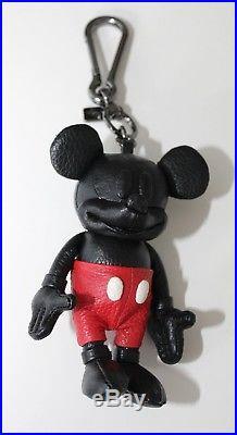 NWT Disney X Coach Mickey Mouse Black Leather Bag Charm Key Chain Fob 66511 RARE