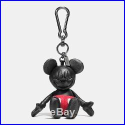 NWT Disney X Coach Mickey Mouse Black Leather Bag Charm KeyChain