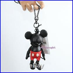 NWT Disney X Coach Mickey Mouse Black Leather Key Chain Fob Bag Charm 66511 RARE