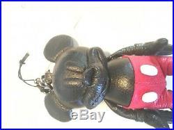 NWT Disney X Coach Mickey Mouse Black Leather Keychain Fob Bag Charm 66511 RARE