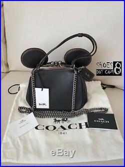 NWT Disney x COACH Mickey Mouse Black Kisslock Leather Bag w Key Chains