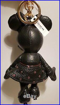 NWT Disney x Coach Black Minnie Mouse Doll Bag Charm Key Chain