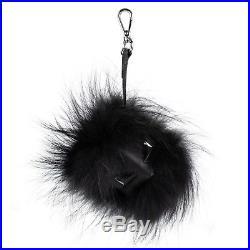 NWT FENDI'Bag Bugs' Black Fox Fur And Leather Monster Cube Bag Charm $1500