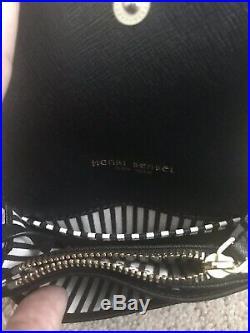 NWT Henri Bendel West 57th Black Coin Purse ID Wallet Keychain + Dust Bag