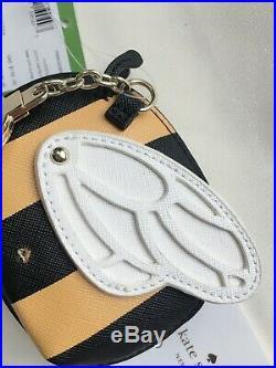 NWT Kate Spade PWRU6283 Picnic Perfect Bumble BEE Coin Purse Wallet BLACK Stripe