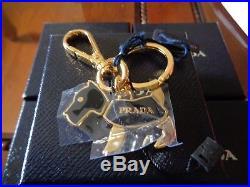 NWT NIB PRADA Gold/Black DOG KeyChain Italy Gold Tone Enamel KEYCHAIN
