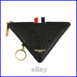NWT THOM BROWNE Black Leather Triangle Key Chain Coin Pouch Wallet $740