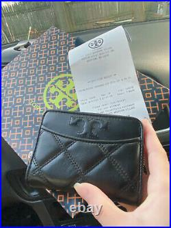 NWT Tory Burch Quilted Savannah Zip Coin Case w Keychain Black Color