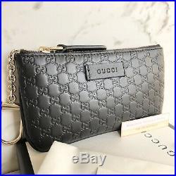 New Authentic Gucci Guccissima Black Wallet Key Chain Purse Zip Card Holder NIB