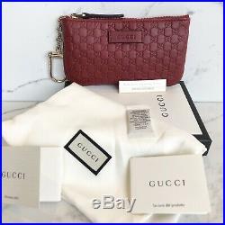 New Authentic Gucci Guccissima Black Zip Wallet Key Chain Purse Card Holder NIB
