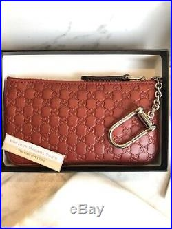 New Authentic Gucci Guccissima Black Zip Wallet Key Chain Purse Card Holder NIB