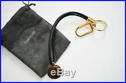 New Authentic TOM FORD Black Leather Strap KEY Holder Key Fob Ring