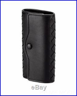 New Bottega Veneta Black Intrecciato Nappa Leather Key Case Keychain Keyring