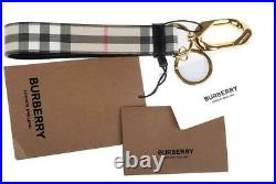 New Burberry Beige E-canvas Coated Vintage Check Keychain Key Ring Bag Charm