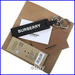 New Burberry Black Leather Logo-debossed Key Tag Keychain Charm