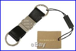New Burberry Horseferry Road Black London Logo Key Chain Ring Holder