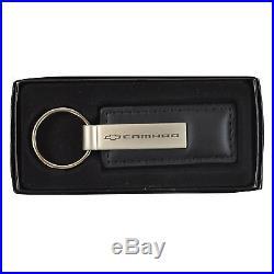 New Chevy Chevrolet Camaro Car Truck Black Genuine Leather Key Fob Keychain