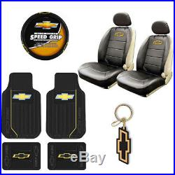 New Chevy Elite Car Truck Front Seat Covers Floor Mats Wheel Cover Keychain Set