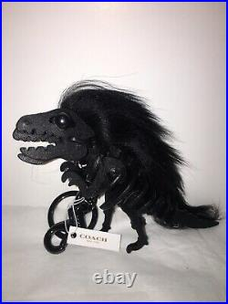 New Coach 21772 Long Mohawk Dinosaur Rexy Bag Key Charm KeyChain Black