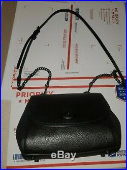 New Coach Faye Black Mixed Leather Crossbody #F22349 Missing the Coach Key Chain