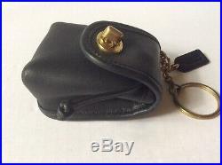 New Coach Vintage Black Leather Mini Bag Keychain Fob Coin Purse