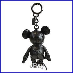 New Coach X Disney 59152 Mickey Plush Doll Bag Charm Leather Black