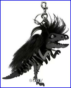 New Coach XL Large Wild Mohawk Dinosaur Rexy Bag Charm Black