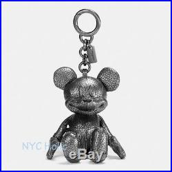 New Disney X Coach F59152 Mickey Bag Charm Pebble Leather Black NWT