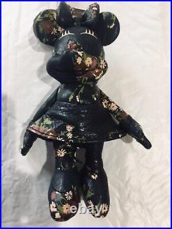 New Disney X Coach Minnie Mouse Navy/black Leather Doll Keychain Bag Charm Rare