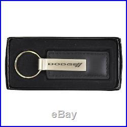 New Dodge Elite Racing Stripe Car Truck Black Genuine Leather Key Fob Keychain