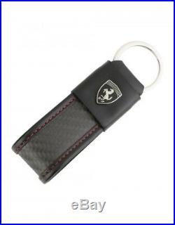 New Ferrari Leather & Carbon Fiber Key Chain 40928 Mans Driver Black Japan