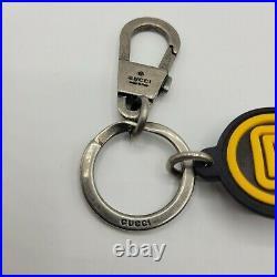 New Gucci Black/Yellow Rubber SEGA Logo Keychain 523759 8878