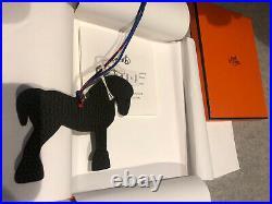 New HERMES H Petite Large Togo Epsom Leather Horse Bag Charm Black Blue Nuit